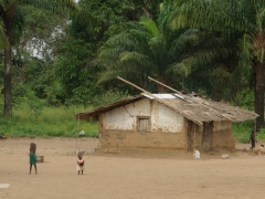 Congolese children outside their simple dwelling