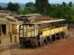 This old school bus has seen better days; near Matadi
