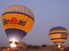 Hot air balloons getting ready for an unforgettable float over the Valley of the Kings; Luxor