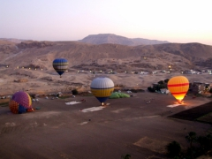 Our hot air balloon was the first to rise, offering us a fantastic panorama of the scene down below; Luxor