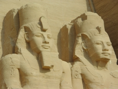 Close up of two of Ramses II's images carved on the exterior of Abu Simbel temple (note: there are 4 images of Ramses II carved at Abu Simbel depicting various stages of his life)