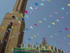 Colorful flags on display outside this Aswan Mosque