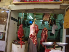 Freshly slaughtered meat for sale; Aswan Bazaar