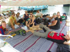 Chilling on our felucca (Matt, Becky, Lisa, Fi, Ally, Sara, Sean, Lucky, Naomi, Anna and Damien)