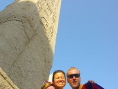 Mel, Becky and Matt pose by an obelisk; Temple of Karnak