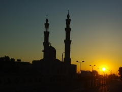 Sunset by a mosque in Hurgada