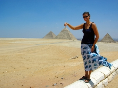 Becky grabs the top of the Pyramid of Khafre (its peak still encased in limestone); Giza