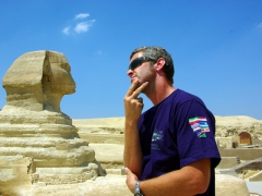 Robby stares in contemplation at the Sphinx; Cairo