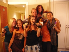 Naomi, Kendra, Ally, Matt, Katherine, Lisa and Becky are all smiles during our last night farewell dinner in Cairo at the Havana Hotel