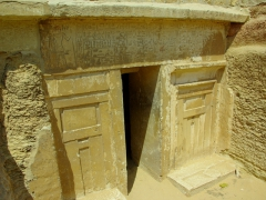 Detail of the entrance way of this tiny tomb in Saqqara