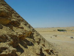 View from the entrance way of the Red Pyramid overlooking the sand dunes around Dahshur