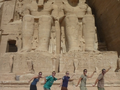 """Walk like an Egyptian"" (Marie, Lars, Naomi, Becky and Robby) strike a pose outside of Abu Simbel"