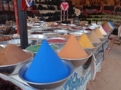 Brightly colored spices for sale; Nubian Village in Aswan