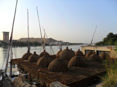 Straw dome shaped roofs are quite popular along the Nile River near Aswan