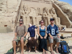 Robby, Naomi, Marie and Lucky mimic the poses of Ramses II at Abu Simbel