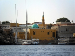 A brightly colored mosque on Elephantine Island, Aswan's earliest settlement