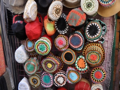 Colorful Muslim caps for sale in the Aswan Souq
