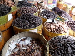 A wide variety of dates for sale at the Aswan Souq (E₤ 10-20 for a KG)
