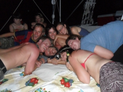 Robby gets sandwiched by Lars, Matt, Katherine, Lydia, Mel and Marie; Felucca boat on the Nile