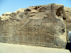 One of the more weathered sections of the Kom Ombo Temple, close to the riverbank of the Nile