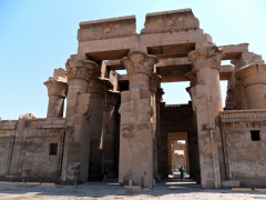 The Temple of Sobek and Haroeris is dedicated to the crocodile god (Sobek) and falcon god (Haroeris); Kom Ombo