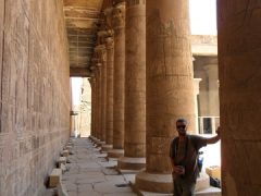 Robby strikes a pose by one of the large columns of Edfu
