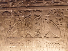 Detail of an engraving on the inside wall of the temple of Edfu