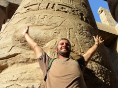 Robby is dwarfed by one of the gigantic pillars in the Great Hypostyle Hall; Karnak