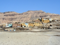 Colorful dwellings near Deir Al-Medina; Luxor