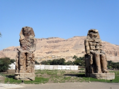 The Colossi of Memnon are 18 meter high statues that are the only things remaining from a temple built by Amenhotep III