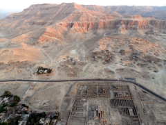 Early morning view over the Valley of Kings complex (as seen from our hot air balloon)