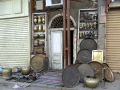 Brass items for sale at the Aswan Souq