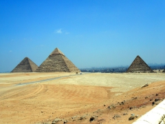 View of the three main pyramids of Giza as seen from the panoramic lookout point