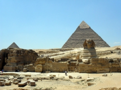 The quintessential view of the Pyramids and Sphinx of Giza