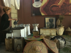 Interior view of a traditional coffee shop