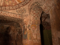 View of the 15th/16th century wall paintings that Abuna Yemata Guh is so famous for. These are very well preserved due to the remoteness of the church