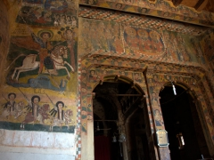 Interior of what some call the finest rock-hewn church in Ethiopia, Abreha we Atsbeha