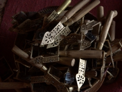 A collection of tsenatsils (a type of sistrum used in Ethiopian Orthodox Christian Churches). These are musical instruments used during church service