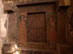 Detail of the interior frescos seen inside Abreha we Atsbeha