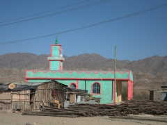 Brightly colored mosque; Berhale