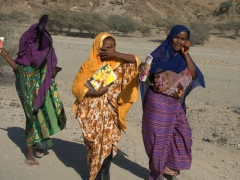 Different reactions of the local Afar women as they catch a glimpse of us enroute to Hamed Ela