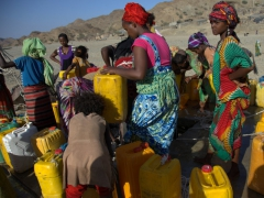 While the Afar men are busy transporting salt laden camels across inhospitable terrain, their women are busy drawing water from the well in bustling Berhale village