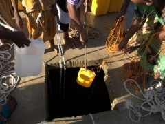 Drawing water from a deep well; Berhale