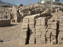 Stacks of salt are grouped together as some of the Afar tribesmen decide to cash in at Berhale (they get 17 Birr per brick at Berhale and if they decide to march onward to Mekele, they must first pay a tax and then can command 40 Birr per brick in Mekele for their efforts)