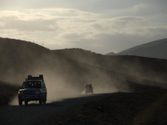 View of our 4x4 convoy at dusk; near Hamed Ela