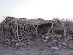 The Afar people make the most of the scarce resources available to construct simple huts such as this one to live in