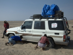 Our 4x4 gets momentarily stuck in the Danakil Depression. This is why the few companies that offer tours here prefer to organize a convoy of vehicles (so that groups can assist if trouble arises, which is inevitable on an adventure like this)