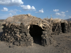 Traditional Afar huts at the base of Erta Ale volcano