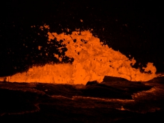 The explosive power of Erta Ale lava lake. We learned that there are 5 lava lakes in the world (Guatemala, Congo, Antarctica, Hawaii and Ethiopia). Erta Ale is the one you can get closest to