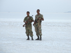 Our security force at the edge of the salt lake